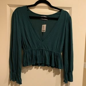 Urban Outfitters Long Sleeve Teal Crop Top